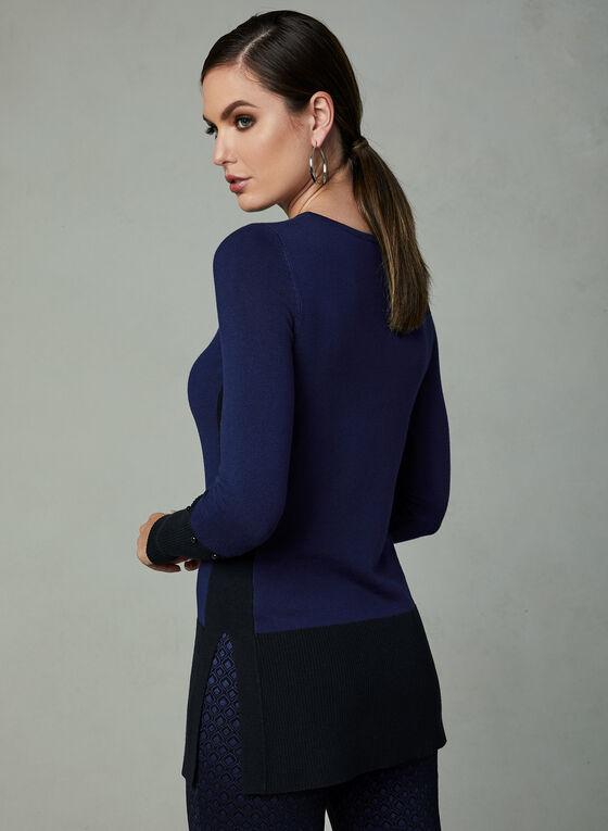 Pull tunique à blocs de couleurs, Bleu, hi-res