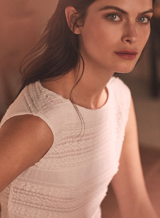 Ruffle & Lace Detail Top, Off White