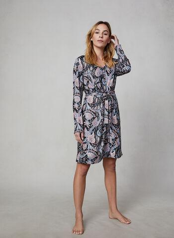 Hamilton - Paisley Print Robe & Nightgown Two-Piece Set, Blue,  canada, sleepwear, nightgown, robe, paisley print, two-piece set, long sleeves, pyjama, fall 2019, winter 2019