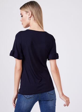 Ruffle Sleeve T-Shirt, Blue, hi-res