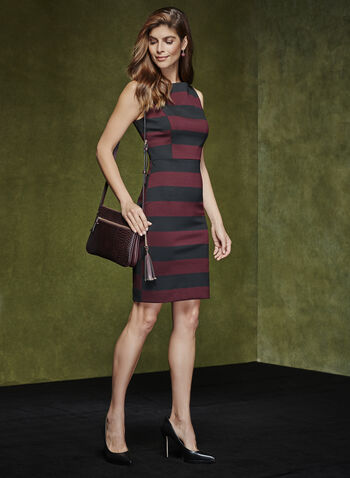 Sleeveless Stripe Print Dress, Black, hi-res