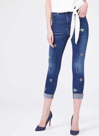 Frank Lyman – Beaded Floral Capri Jeans, Blue, hi-res