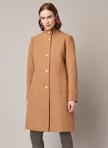 High Collar Wool Blend Coat, Brown,  coat, wool, button front, high collar, pockets, fall winter 2020