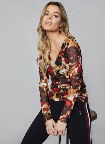 Floral Print Mesh Top, Brown, hi-res,  Canada, top, long sleeves, ruching, mesh, floral, fall 2019, winter 2019