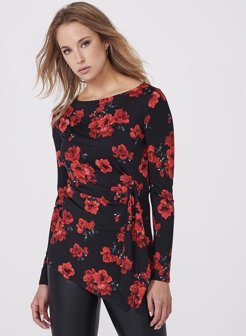Haut drapé asymétrique en jersey fleuri, Rouge, hi-res