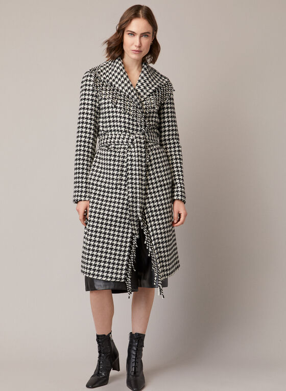 Houndstooth Print Fringe Coat, Black