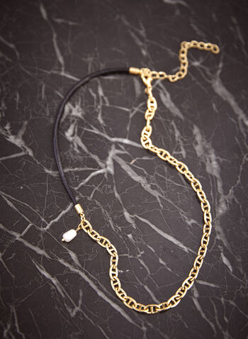 Oval Link Pearl Pendant Necklace, Off White,  fall 2021, jewellery, accessory, accessories, leather cord, oval link chain, pearl pendant, silver, metallic
