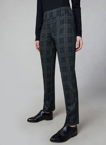 Madison Plaid Print Pants, Black,  canada, pants, plaid print, print pants, plaid print pants, straight leg, madison, holiday, fall 2019, winter 2019