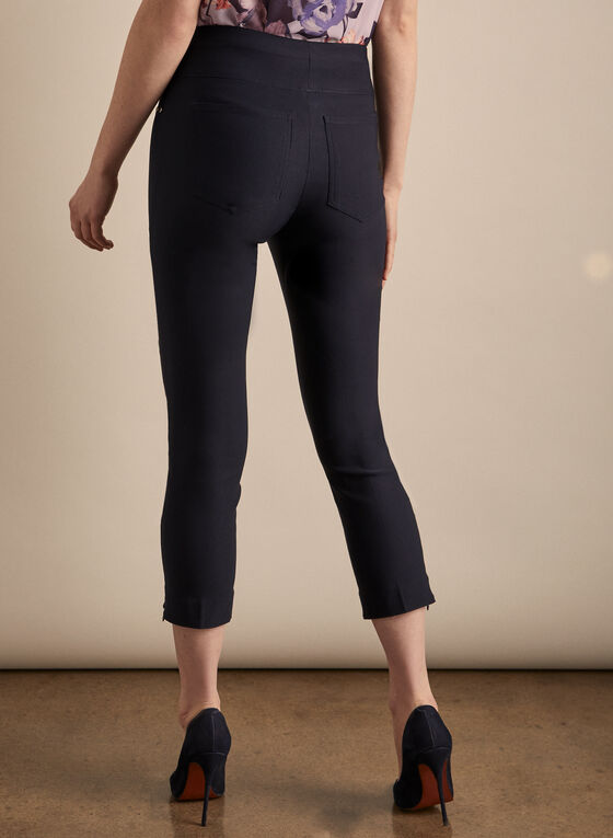 Zipper Hem Pull-On Capris, Blue