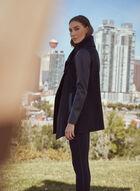 Wool & Vegan Leather Coat, Black