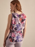 Sleeveless Floral Chiffon Blouse, Purple