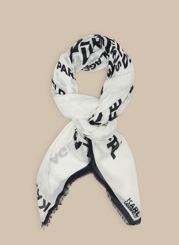 Karl Lagerfeld Paris - Typography Scarf, Black,  scarf, Karl Lagerfeld, modal, silk, typography, text, spring summer 2020