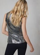 Sleeveless Metallic Sequin Top, Black