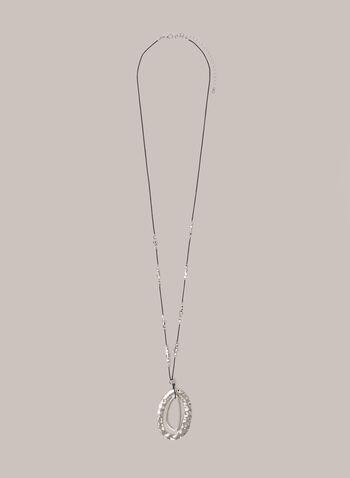 Collier à pendentif ovale doublé, Argent,  automne hiver 2020, collier, accessoire, bijou, billes, métallique, ovale