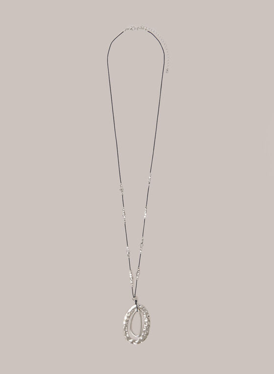 Double Open Oval Pendant Necklace, Silver