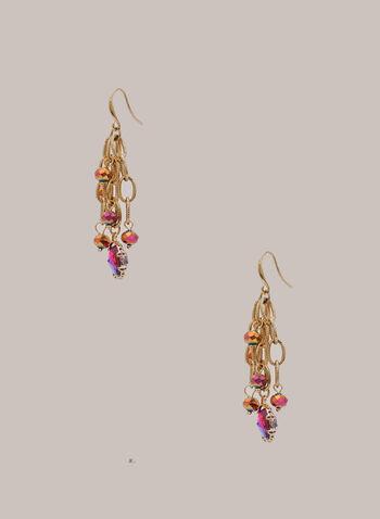 Beaded Golden Link Earrings, Pink,  Fall winter 2020, jewellery, earrings, stone, accessories, beaded, chain