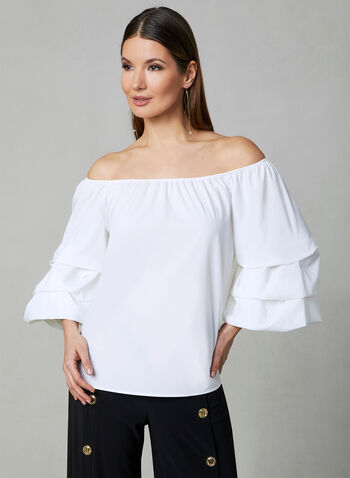 Joseph Ribkoff - Tiered Balloon Sleeve Top, White, hi-res