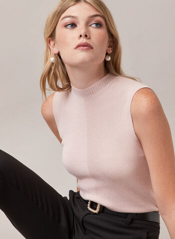 Sleeveless Mock Neck Sweater, Red,  sweater, sleeveless, rib knit, mock neck, spring summer 2020