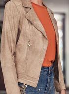 Vex - Zipper Detail Faux Leather Blazer, Brown