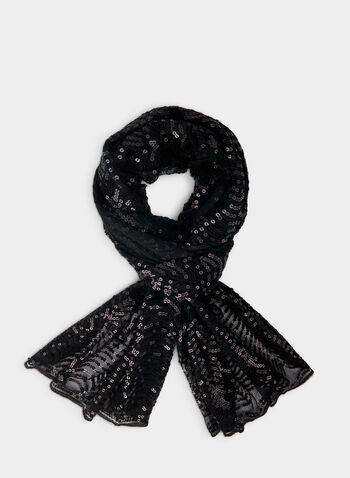 Sequin Detail Scarf, Black,  scarf, sequins, sequin scarf, holiday, fall 2019, winter 2019