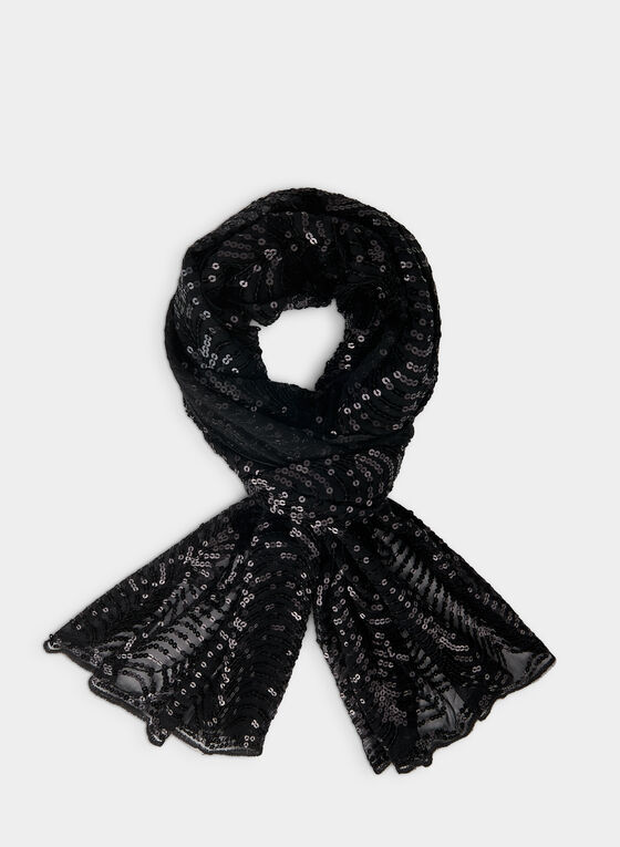 Sequin Detail Scarf, Black