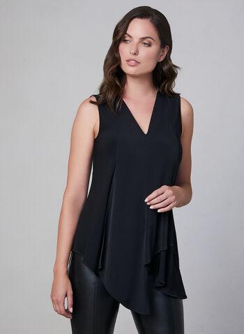 Sleeveless Tunic Blouse, Black, hi-res,  sleeveless, jersey, asymmetric, fall 2019, winter 2019