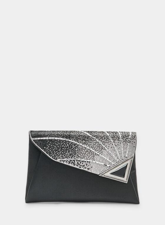 Asymmetric Flapover Clutch, Black, hi-res