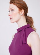 Maggy London - Sleeveless Crepe Bow Collar Dress, Purple, hi-res