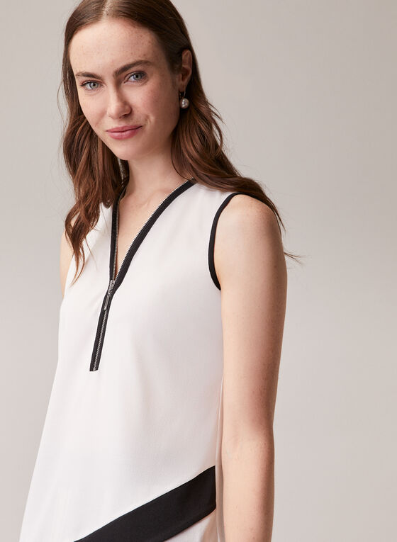 Sleeveless Contrast Blouse, Off White