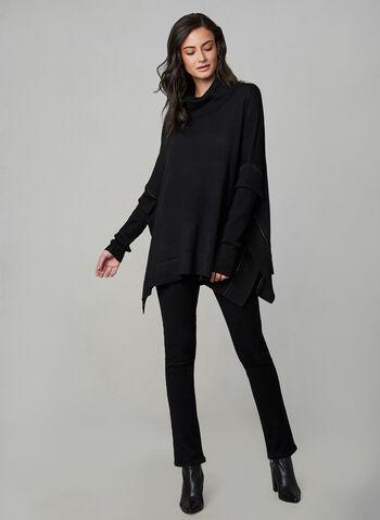 Poncho en tricot à manches longues, Noir, hi-res,  automne hiver 2019, poncho, tricot, pull, chandail, manches longues, col roulé, strass