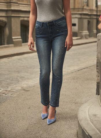 Joseph Ribkoff - Crystal Detail Jeans , Blue,  fall winter 2021, Joseph Ribkoff, Frank Lyman, pants, denim, stretch denim, jeans, mid rise, slim leg, 5 pocket, belt loops, rainfall, crystal, embellished, washed