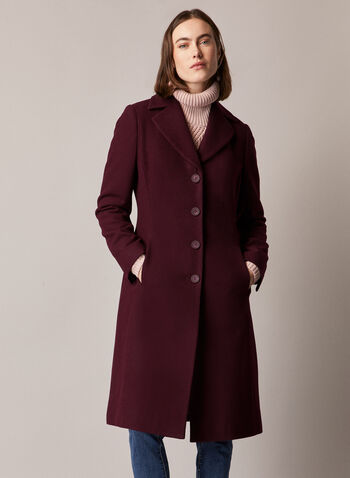 Wool Blend Button Down Coat, Purple,  coat, button front, notched collar, pockets, wool, fall winter 2020