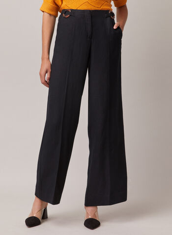 Linen Wide Leg Pants, Black,  pants, wide leg, linen, high rise, pockets, pleats, spring summer 2020