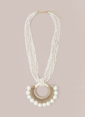 Pearl & Bead Necklace, Off White,  necklace, multi-row, seed bead, pearl, silver, spring summer 2020