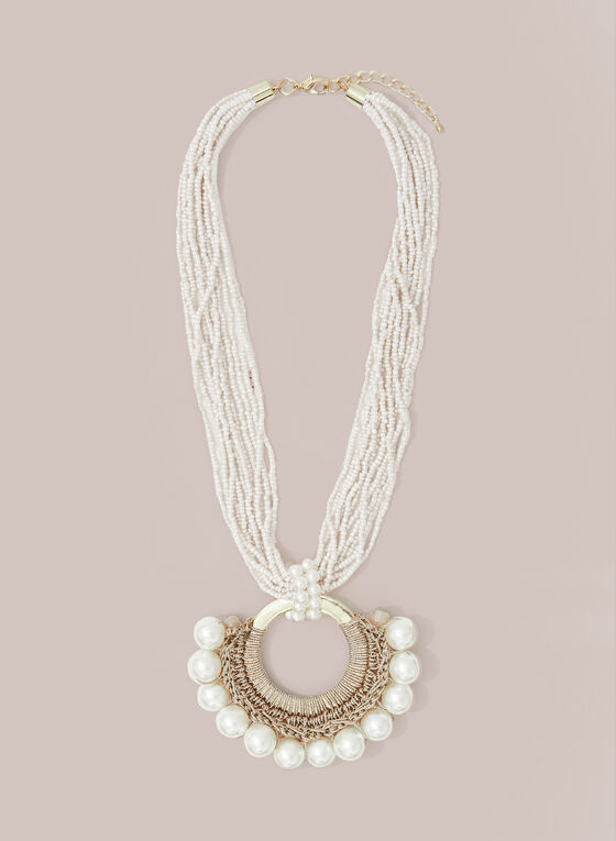 Pearl & Bead Necklace, Off White