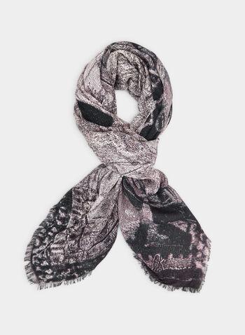 Foulard carré motif urbain, Gris,  foulard léger, carré, urbain, franges, automne hiver 2019