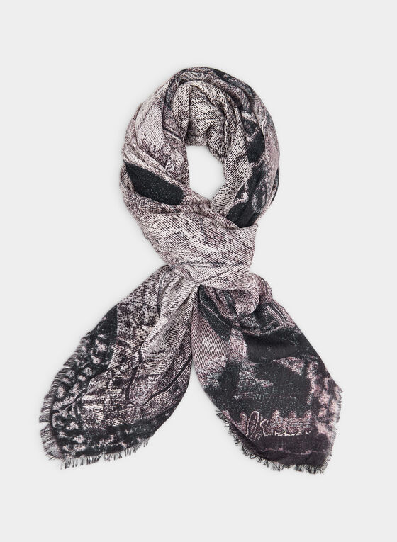 Train Print Scarf, Grey