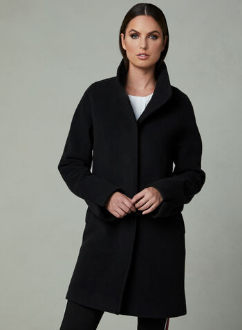 Mallia - Stand Collar Cashmere Blend Coat, Black, hi-res
