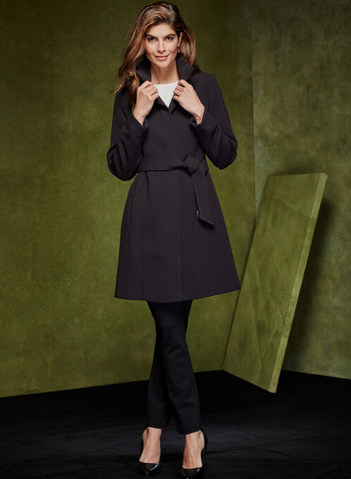 Belted Wool Like Coat, Black, hi-res