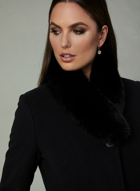 Mallia - Genuine Fur Trim Coat, Black, hi-res