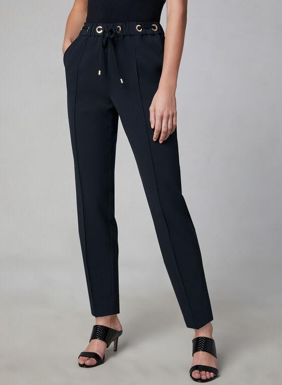 Faux Drawstring Straight Leg Pants, Black
