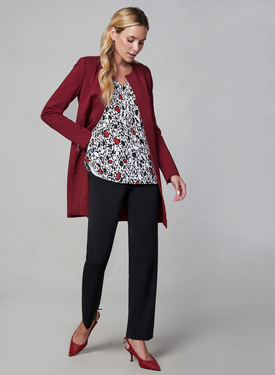 Open Front Redingote Jacket, Red