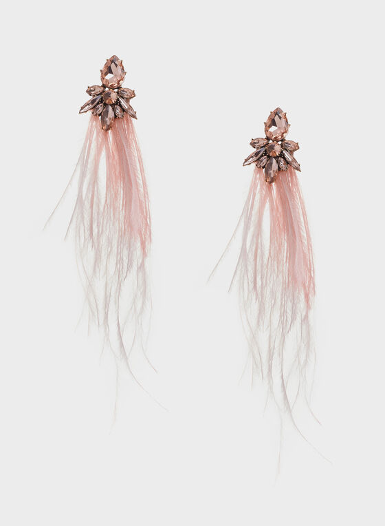 Stone Cluster Feather Drop Earrings, Orange, hi-res