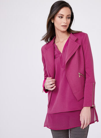 Tailored Zip Detail Jacket, Purple, hi-res