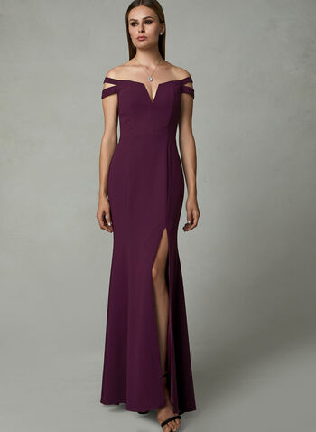 BA Nites - Off The Shoulder Gown , Purple, hi-res