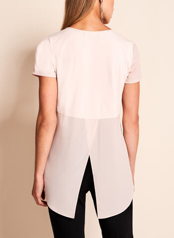 Crew Neck Slit Back Top, Pink, hi-res
