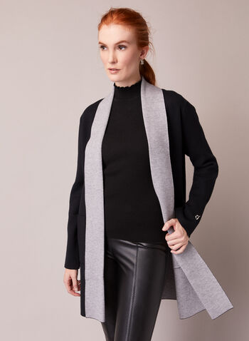 Two Tone Open Cardigan, Grey,  fall winter 2020, open cardigan, winter, comfort, warm, stretch, two tone, contrast, sweater, shawl collar, long sleeves, pockets