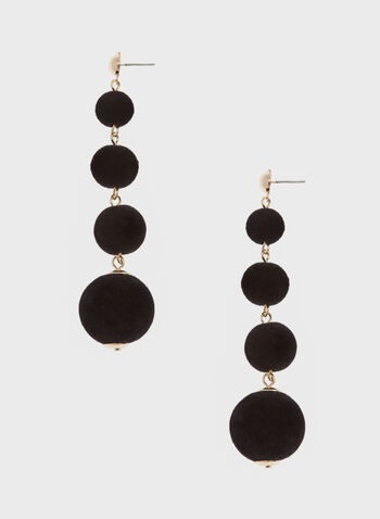 Velvet Tiered Earrings, Black, hi-res