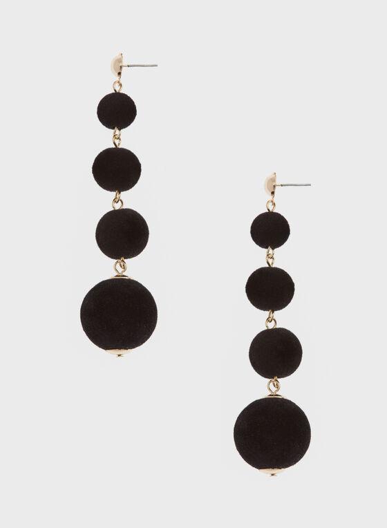 Velvet Tiered Earrings, Black, hi-res