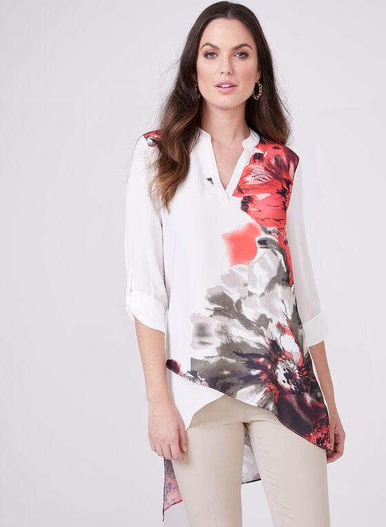 Blouse asymétrique à motif floral , Blanc